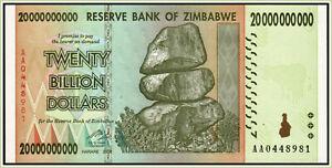 Zimbabwe 20 Billion Dollars 2008 Pick 86
