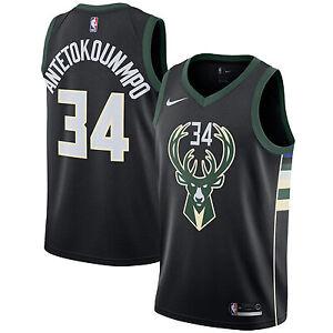 Giannis Antetokounmpo #34 Basketball Jersey Milwaukee Bucks Black Green White