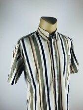 Tribute MEN'S striped Button Down short sleeve Shirt SIZE L (M)
