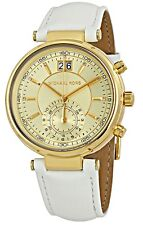 Michael Kors  - Ladies Sawyer Chronograph White Leather Watch  - MK2528