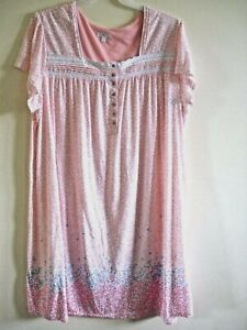 Ladies Plus Night Gown Peach  Floral Print Size 3X