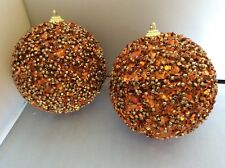 """Set of 2 Christmas Holiday Ornaments Orange with Sequins and Beads 4"""""""