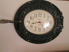 "1978 Wall Hanging Cast Iron "" Fireball Stove works  Fisher Quartz Clock { Works}"