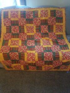 Patchwork Blanket QUILT Vintage 1980s Patch Bedspread 46 x 46 orange green