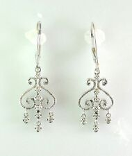 10 kt White Gold Earrings with genuine Diamonds d=0.10