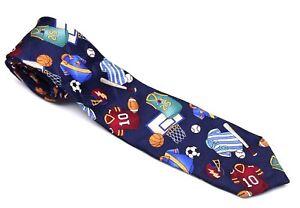 """Dockers BOY'S Tie  SPORTS PATTERN Dark Blue NECKTIE Child's 100% Silk 51"""" Length"""