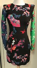 NWT VERSACE for H&M Size 4 Silk Asian Print Mini Dress Cut out details
