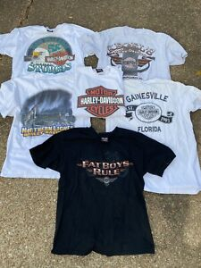 Rare vintage  1990s Harley Davidson T-shirt lot All Size Large 6 T SHIRT BUNDLE