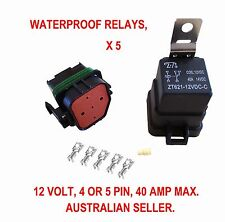 5 X WATERPROOF RELAY 12 V AUTOMOTIVE 4 5 PIN 40 AMP SWITCH 12 VOLT  AUTO MARINE