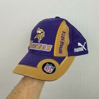 VINTAGE Puma NFL Minnesota Vikings Hat Cap Purple Strapback Adjustable Adult