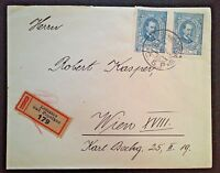 Czechoslovakia pair Scott 61 on registered cover to Vienna 1921
