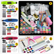Nail Art Set Tips Acrylic Powder Liquid Brush Glitter Nail Drill File Sander Kit
