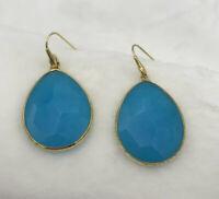 Blue Jadeite Faceted Earrings Gold Tone Semiprecious STUNNING Kendra Scott Style