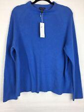 New $248 Eileen Fisher Women's Size Large Sweater Blue Organic Cotton Silk