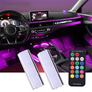 2pcs RGB Color LED Interior Decoration Car Under Dash Floor Seats Lights Kit