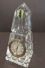 Waterford Irish Crystal OBELISK CLOCK Paperweight Label Runs Signed Quartz Exc!!