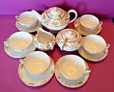 Nippon Noritake Teapot Set With Six Cups And Saucers - Hand Painted Roses -Japan