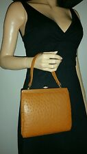 VINTAGE 50'S CORBEAU CURIO BROWN REAL OSTRICH LEATHER FRAME BAG HANDBAG RETRO