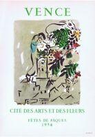 Marc Chagall Vence Cite Des Arts Poster Lithograph 10'' x 14'' 1966 Platesigned