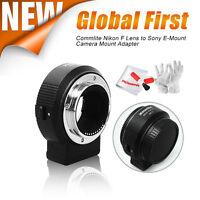 Commlite CM-ENF-E1 Nikon F Lens to Sony E-Mount Autofocus Lens Adapter+ Gift New