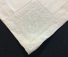"Fine Intricately Designed Vintage Hand Embroidered Monogram ""G� Linen Hanky"