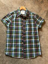Mens Green and Blue Checked Abercrombie & Fitch Short Sleeved Shirt - Small