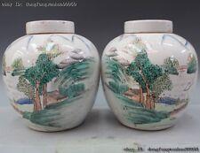 Chinese Folk Min Guo Old Rose WuCai Porcelain Landscape Tank Jar Pot Vase Pair