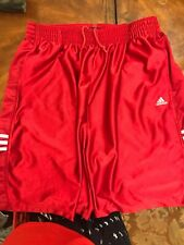 ADIDAS BASKETBALL SHORTS Men's XL Red Polyester W/White Stripes/Logo