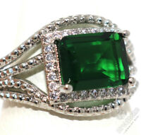 5Ct Oval Cabochon Green Jade CZ Halo Ring Woman Jewelry Solid Silver Size 6 to 9