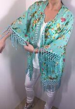 Kimono Jacket Emerald Silky Soft Cool Floaty Fringed One Size NEW