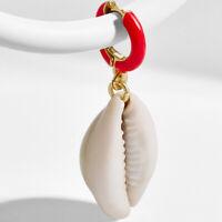 Women Earrings Pearl Shell Eardrop Aolly Geometric Hoop Dangle Earring Jewelry