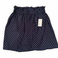 Maison Jules Womens Mini A Line Skirt Blue White Polka Dot Elastic Waist M New