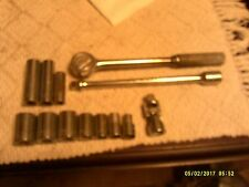VINTAGE WRIGHT 1/2 INCH SOCKET WRENCH AND 10 INCH EXTENSION  WITH SOCKETS