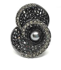 New Lia Sophia Liam Collection JENNY Ring sz 8 RV $118 Blk/Silver Crystals