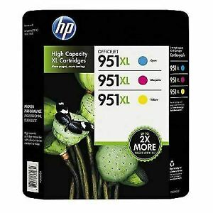 HP 951XL Genuine High Yield Ink 3 pk,Cyan/Magenta/Yellow (Exp.05/2022+) CR318BN