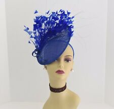 Kentucky Derby Wedding Sinamay feather Fascinator Cocktail 617 (Royal Blue)