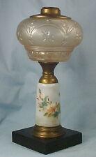 Antique Composite Oil Kerosene Lamp Star & Clover Font Painted Flowers Pedestal