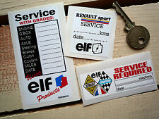 RENAULT SERVICE REMINDER STICKERS Alpine ELF Gordini