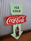 Coca Cola Ice cold sold here metal tin sign bar garage soft drink advertising