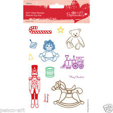 "Papermania set of 12 stamps on 5x7"" Christmas Festive toy box horse soldier drum"