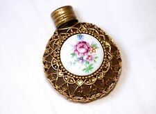 Antique Gold Metal Cased Porcelain Floral Perfume Bottle