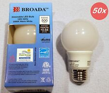 (50x) LED Dimmable 7w Small Vanity Globe Bulbs G19 A19 (2-1/2 in) Warm White E26