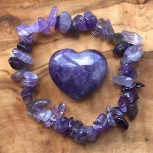 Amethyst Gem Chip Bracelet and Heart Gift Set Calming Meditation Confidence Love