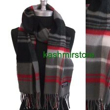 100% CASHMERE SCARF MADE IN SCOTLAND PLAID Check SOFT Gray/Red/black
