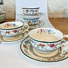 Spode Chinese Rose 4 Teetassen mit Untertassen Cups Saucers