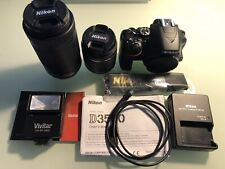 Nikon D3500 DSLR Camera with 18-55mm & 70-300mm and More - Mint (1010 clicks)
