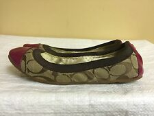 """COACH """"Dalia"""" brown Canvas Signature with pink cap toe  Slip Ons Flats size 5.5M"""