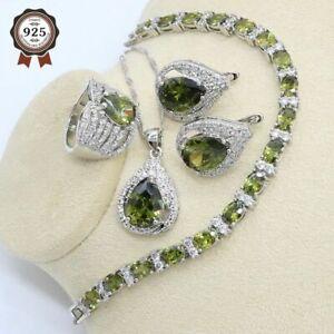 Olivgrün Zirkon Brautschmuck Set 925 Silber Damen Anhänger Armband Ohrringe Ring