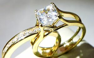 Ladies Solid 14k Yellow White Gold Diamond Princess Cut Wedding Engagement Ring