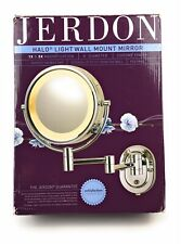 Jerdon 8inch 2 Sided Swivel Halo Lighted Wall Mount Mirror 5x Magnification